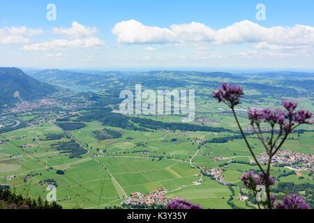 mountain Grünten summit Hochwartspitze, view to Immenstadt, Immenstadt, Schwaben, Allgäu, Swabia, Bayern, Bavaria, - Stock Photo