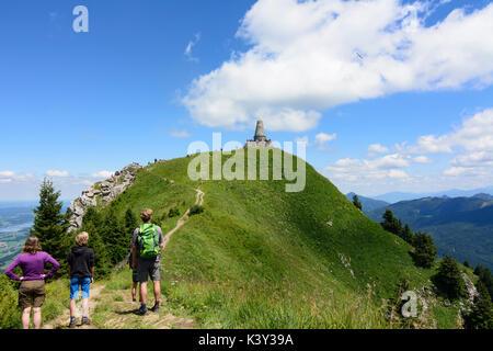 mountain summit Grünten,  Gebirgsjäger monument, hiker, Burgberg im Allgäu, Schwaben, Allgäu, Swabia, Bayern, Bavaria, - Stock Photo