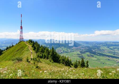 mountain Grünten summit Hochwartspitze, transmitter, view to Immenstadt, Immenstadt, Schwaben, Allgäu, Swabia, Bayern, - Stock Photo