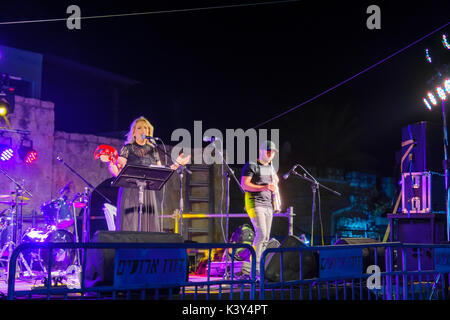 SAFED, ISRAEL - AUGUST 23, 2017: Group of musicians (Adi Adar) play at the Klezmer Festival in Safed (Tzfat), Israel. - Stock Photo