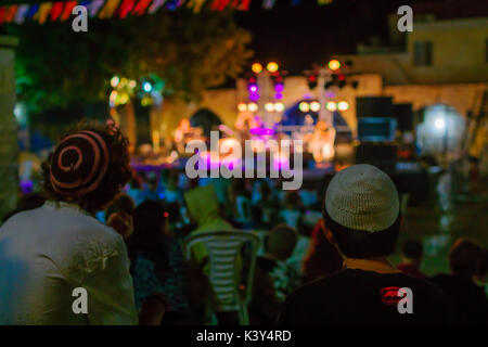 SAFED, ISRAEL - AUGUST 23, 2017: Scene of the Klezmer Festival, with crowd watching musicians in Safed (Tzfat), - Stock Photo