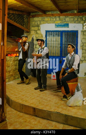 SAFED, ISRAEL - AUGUST 23, 2017: Scene of the Klezmer Festival, with street musicians playing, in Safed (Tzfat), - Stock Photo