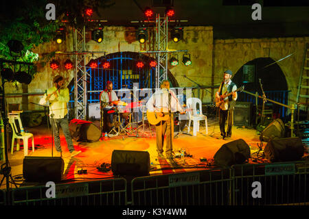 SAFED, ISRAEL - AUGUST 23, 2017: Group of musicians (Yehuda Katz) play at the Klezmer Festival in Safed (Tzfat), - Stock Photo