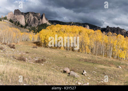 High Mesa Pinnacles in Cimarron Valley Colorado. Early Fall with approaching storm. Cimarron Valley located in Gunnison - Stock Photo