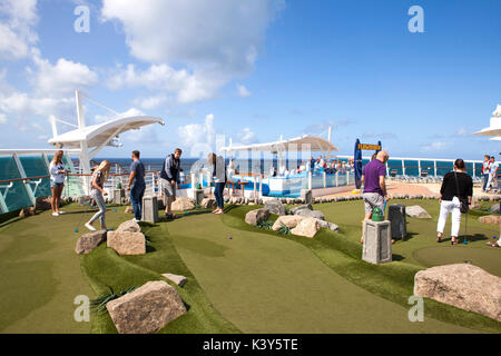 Pool deck 11 of Royal Caribbean Navigator of the Seas cruise ship - Stock Photo