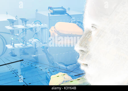 Double exposure of Manufacturing production industrial machine , factory robots arm in smart factory , 3d rendering - Stock Photo