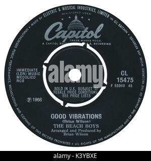 45 RPM 7' UK record label of Good Vibrations by The Beach Boys on the Capitol label from 1966. - Stock Photo