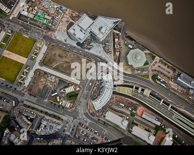 An aerial view of the under construction and soon to be complete V&A at Dundee alongside other waterfront redevelopments - Stock Photo