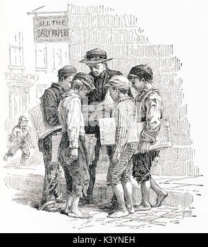 This late 19th-century illustration shows paperboys in New York City. The caption reads:'Getting Points from the - Stock Photo