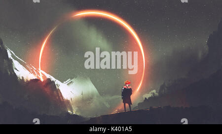 man standing in front of red light circle, digital art style, illustration painting - Stock Photo