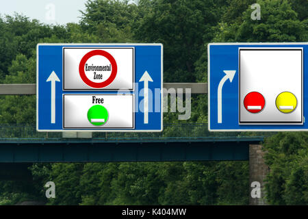 Road sign with inscription in English 'Environmental Zone Free'. Direction free environment free ride with green - Stock Photo