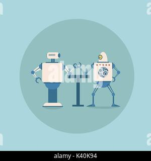 Modern Robots Playing Arm Wrestling Concept Futuristic Artificial Intelligence Mechanism Technology - Stock Photo