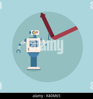 Modern Robot Holding Financial Arrow Up Finance Protection Concept Futuristic Artificial Intelligence Mechanism - Stock Photo