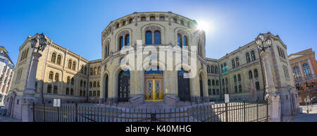 Panorama view of Parliament of Norway Stortinget in Oslo, Norway. - Stock Photo