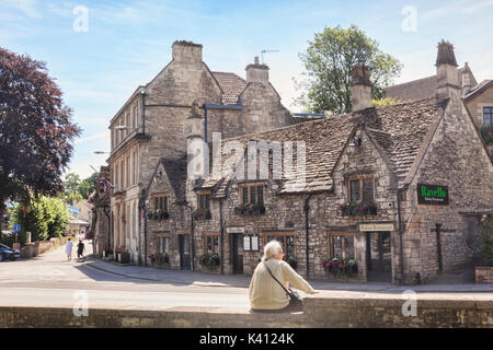 7 July 2017: Bradford on Avon, Somerset, England, UK - Old cottages and houses in the town. - Stock Photo