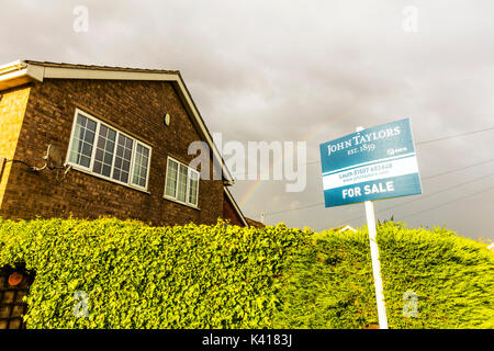 For sale board with rainbow above, For sale sign with rainbow above, housing market recovery, housing market, sign, - Stock Photo