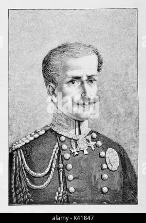 Ancient portrait of a king in uniform rich of medals and militar decorations. Charles Albert of Sardinia (1798  - Stock Photo