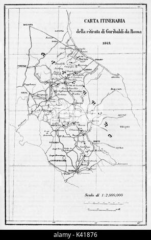 Old itinerary map of Garibaldi retreat from Rome. By E. Matania published on Garibaldi e i Suoi Tempi Milan Italy - Stock Photo