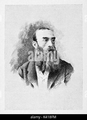 Ancient portrait of a man looking intellectual with his long beard and small glasses. Antonio Mosto (1834 - 1880) - Stock Photo