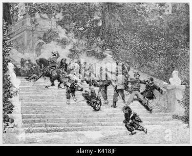 Violent fight between two opposite armies on a flight of steps in a elegant garden. Villa Corsini slaughter in 1849. - Stock Photo