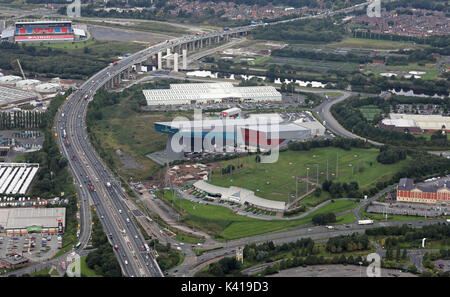 aerial view of Trafford Quays Leisure Village, Manchester, UK - Stock Photo