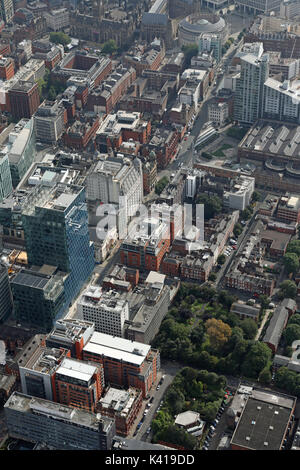 aerial view of Quay Street & Oxford Street, Manchester, UK - Stock Photo