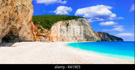 One of the most beautiful beaches of Greece- Porto Katsiki in Lefkada with clean turquoise waters and white beach. - Stock Photo