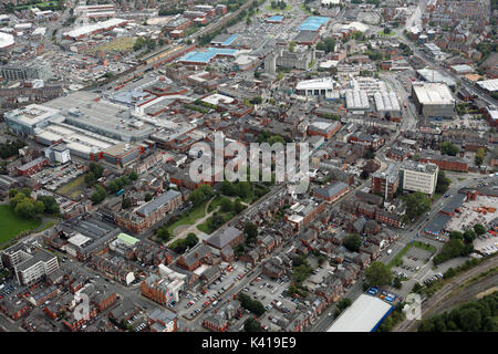 aerial view of Warrington town centre including Palmyra Square, UK - Stock Photo