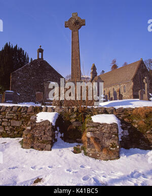 Winter view of Balquhidder Church where Rob Roys grave is located, Stirling, Trossachs - Stock Photo