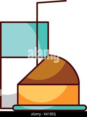 half cake and glass milk straw breakfast - Stock Photo