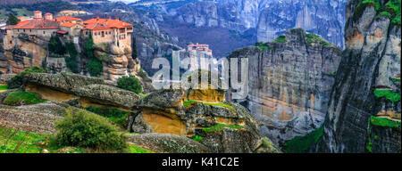 Incredible monastery on the rocks,Meteora,Greece. - Stock Photo