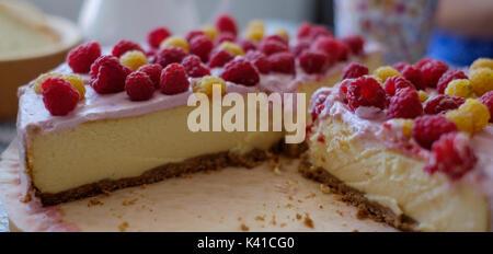 Handmade cheesecake with fresh berries - Stock Photo
