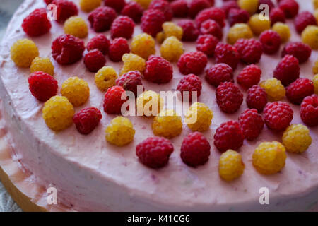 Handmade cheesecake with fresh berries - Stock Photo
