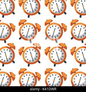 alarm clock time seamless pattern design - Stock Photo