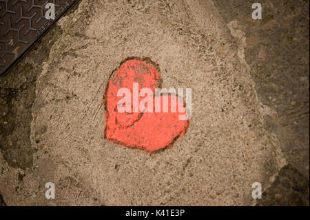 Letter J in red heart on ground, Sarlat, Dordogne, France - Stock Photo