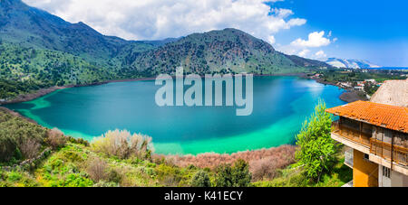 Panoramic view of Kournas lake,Crete isalnd,Greece. - Stock Photo