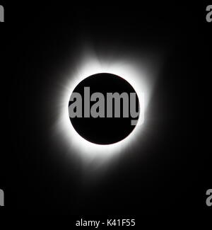 Sun eclipse August 21, 2017 at Agate Fossil Beds National Monument in Nebraska, USA - Stock Photo