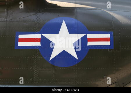 US Air Force emblem on captured fighter plane - Stock Photo
