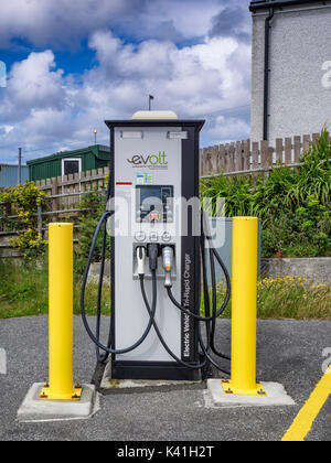 An electric car charging point in Lochmaddy, North Uist - Stock Photo