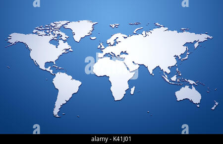 Blank World Map With Raised Edges Isolated On White Stock Photo - Blank world map green