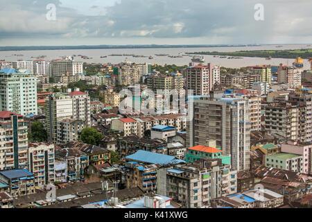 Old roofs of Yangon buildings, Myanmar. Top view - Stock Photo