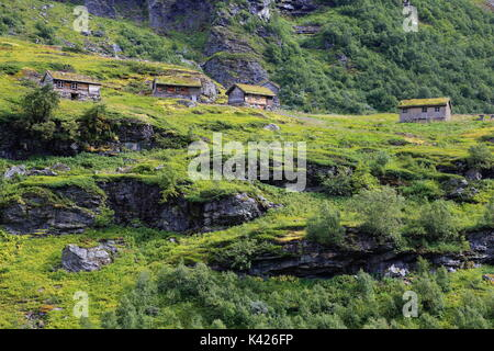 Old traditional house covered with grass along Trollvegen in Møre og Romsdal, Norway region of Norway - Stock Photo