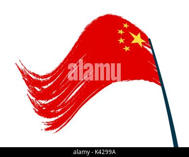 The flag of China is developing in the wind. Isolated on white background. illustration - Stock Photo