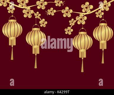 Chinese New Year. Stylized under the bronze Chinese lanterns on a cherry branch. From two sides. Round. illustration - Stock Photo