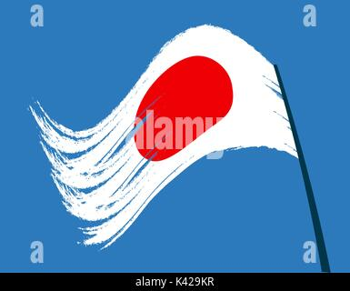 The flag of Japan waving in the wind. Isolated on a background of the sky. illustration - Stock Photo