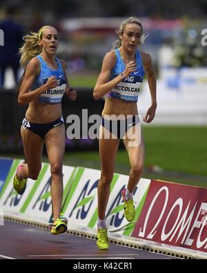 Eilish McColgan in 5000m action during IAAF Diamond League at King Baudouin Stadium Brussels Belgium on September - Stock Photo