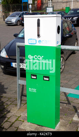 E Car charging point in Carrickmacross, Co. Monaghan - Stock Photo