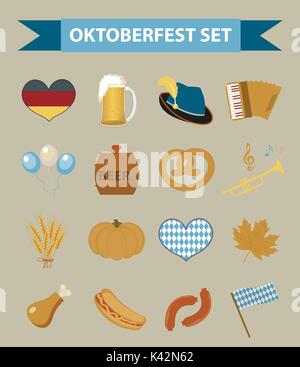 Oktoberfest icon set, flat or cartoon style. October fest in germany collection of traditional symbols, design elements - Stock Photo