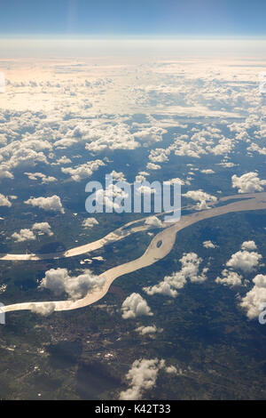 Aerial view of Dordogne river and Garonne river, surrounding countryside , with half clouded cover, France, Europe. - Stock Photo