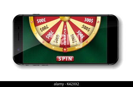 Gold realistic wheel of fortune with smartphone isolated on white. 3d Casino online lucky roulette vector illustration - Stock Photo